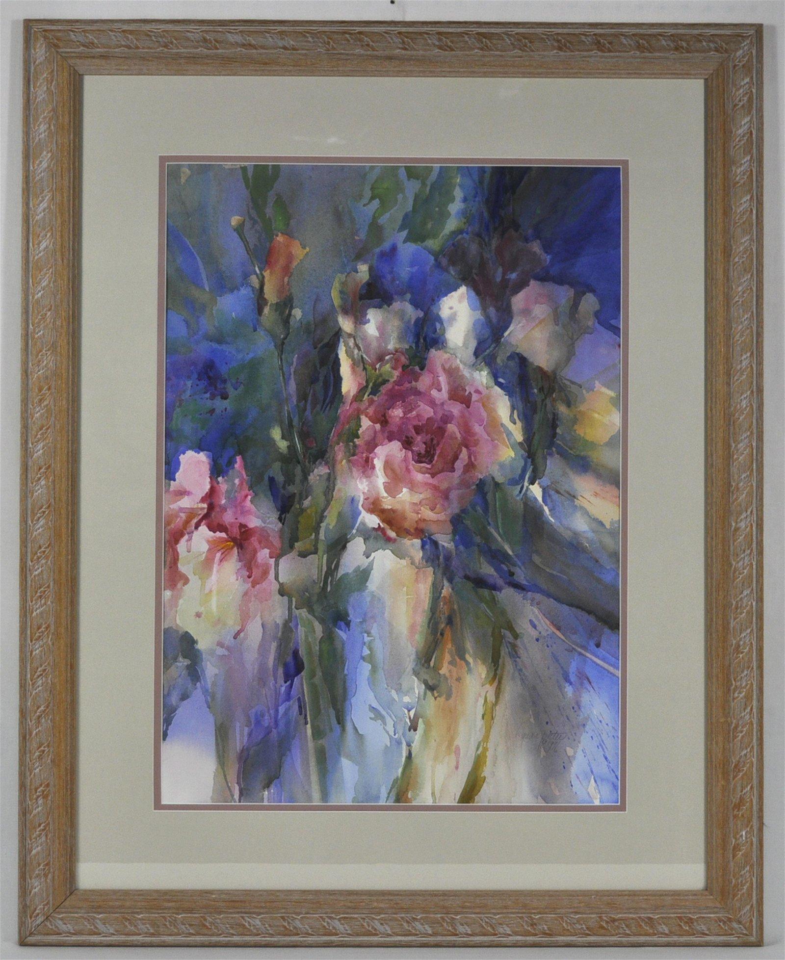 Lynda Potter Watercolor Of A Garden In Bloom