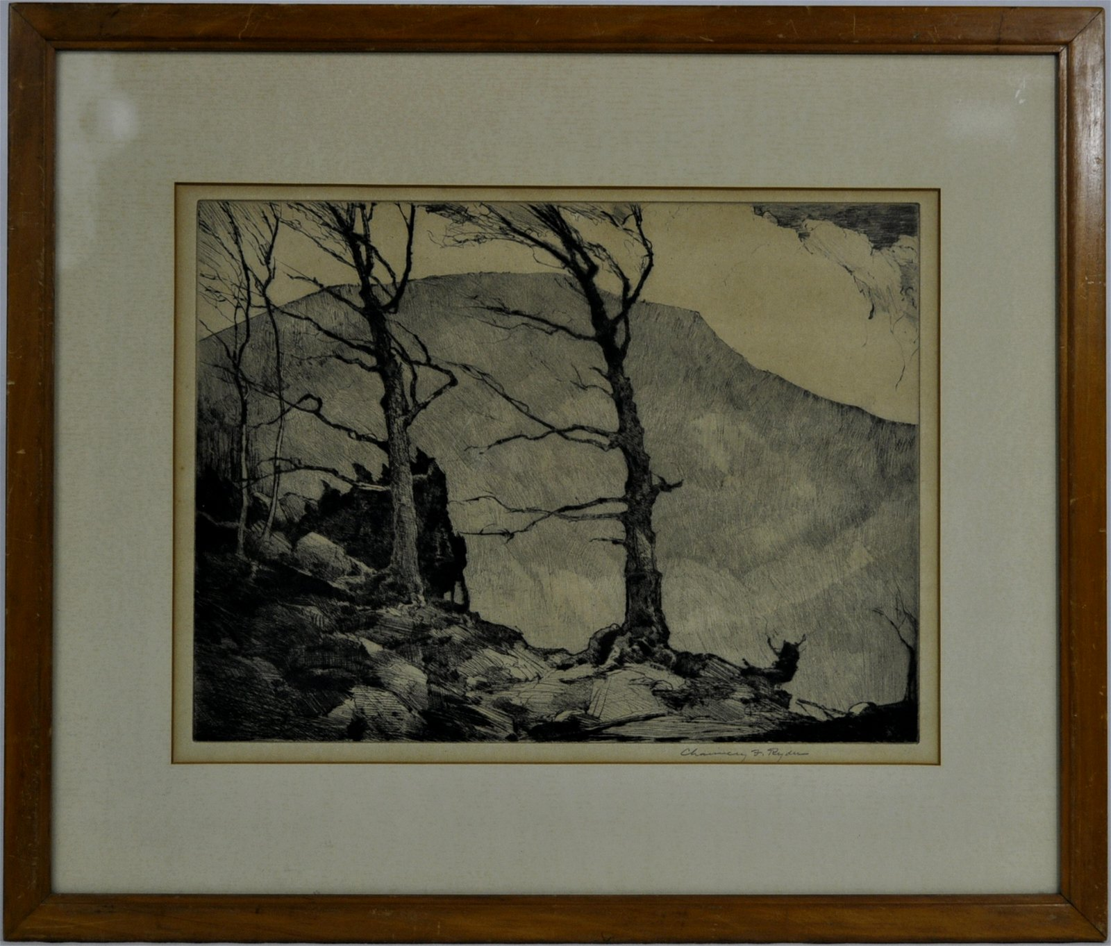 """Chauncey Foster Ryder Etching """"Wind Swept Trees"""""""