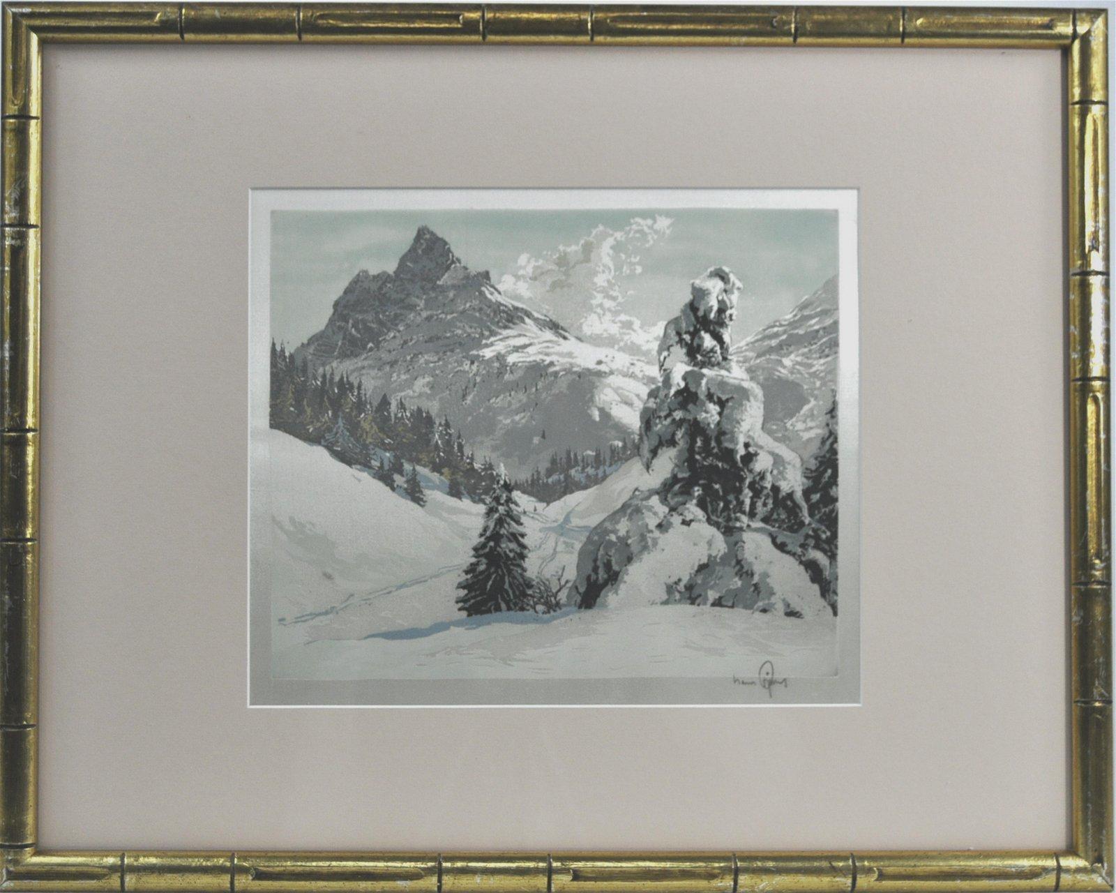 Hans Figura Alpine Landscape Aquatint On Satin