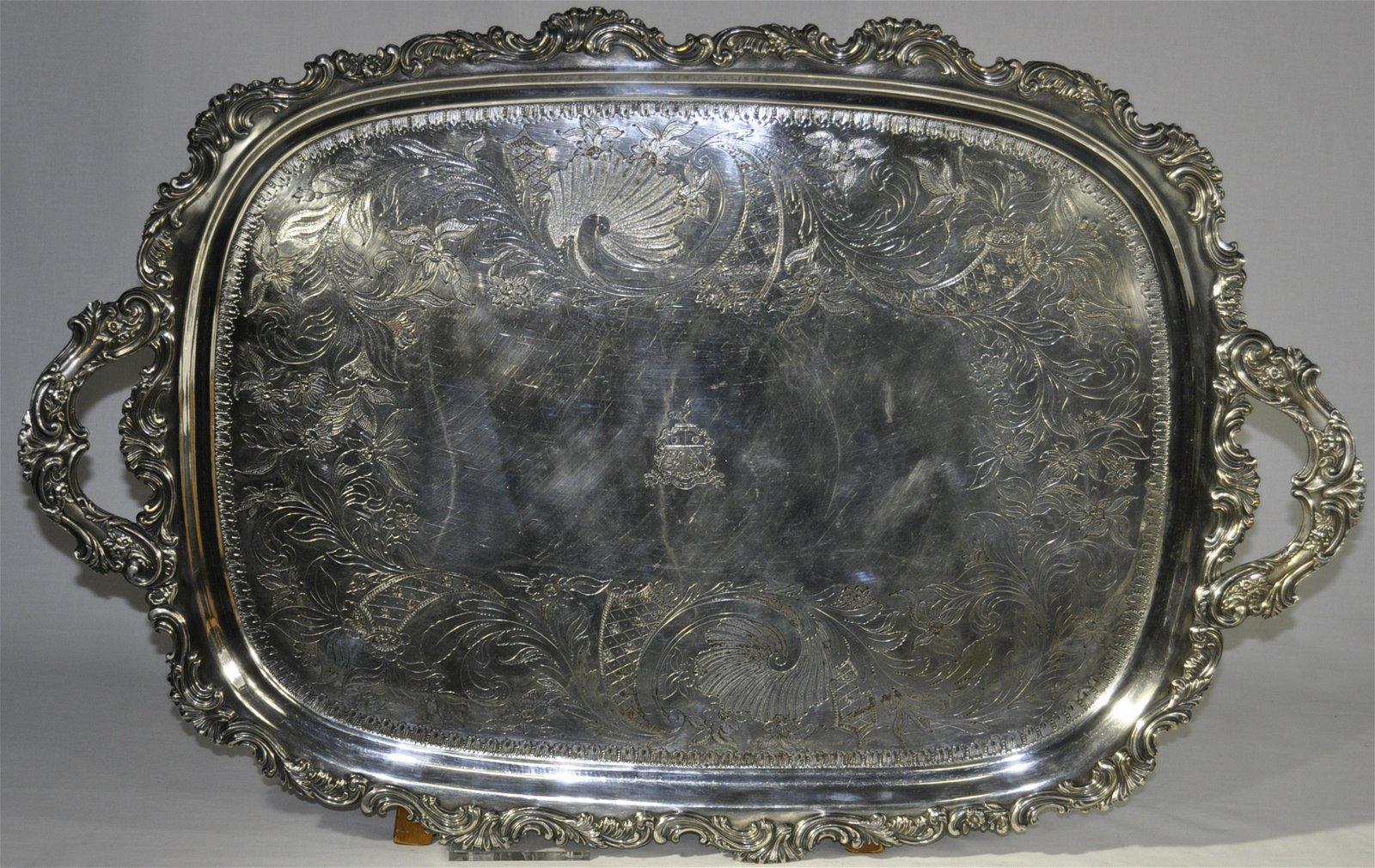 Monumental Irish Silver On Copper Service Tray