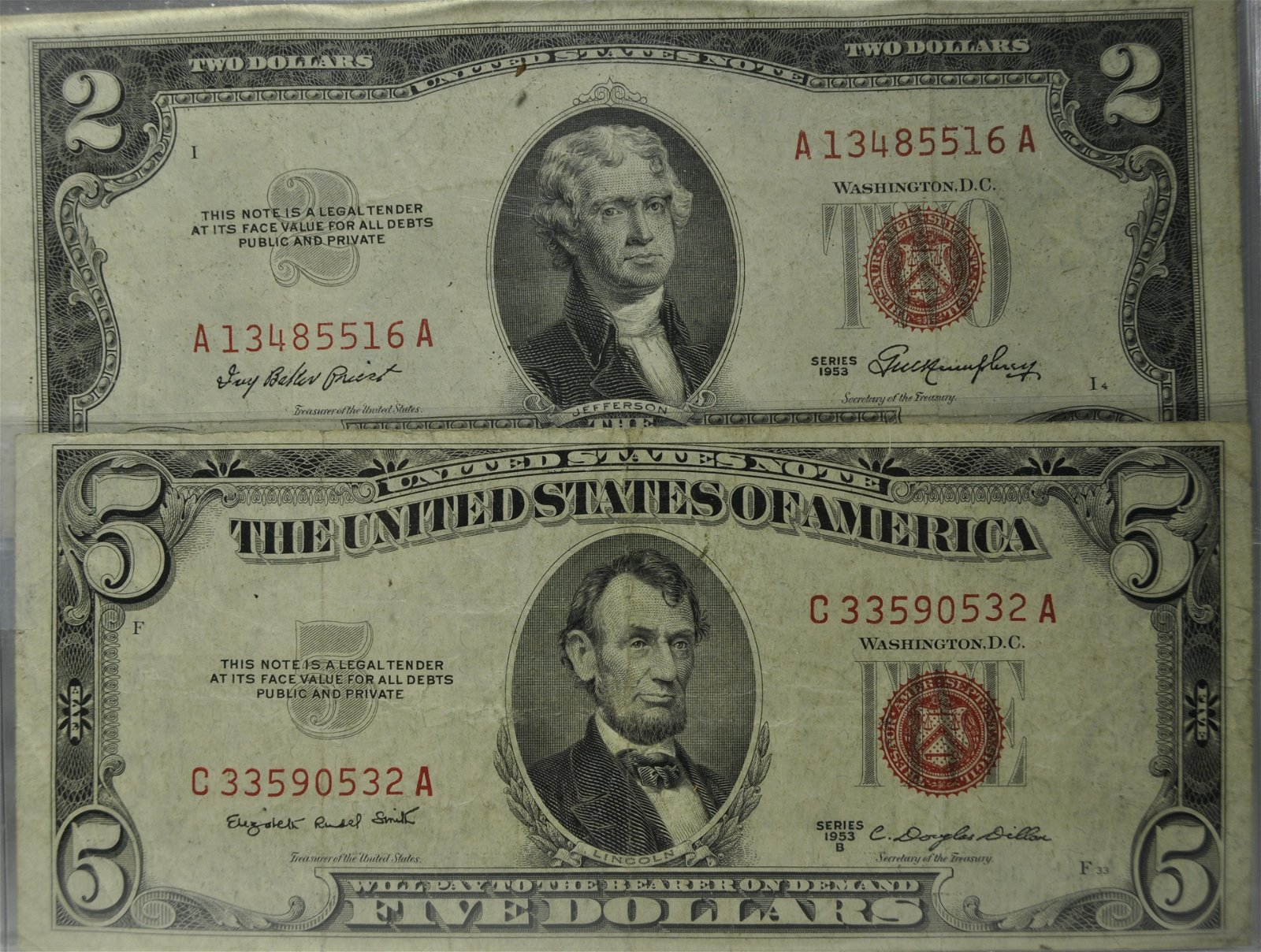 2) U. S. Red Seal Notes