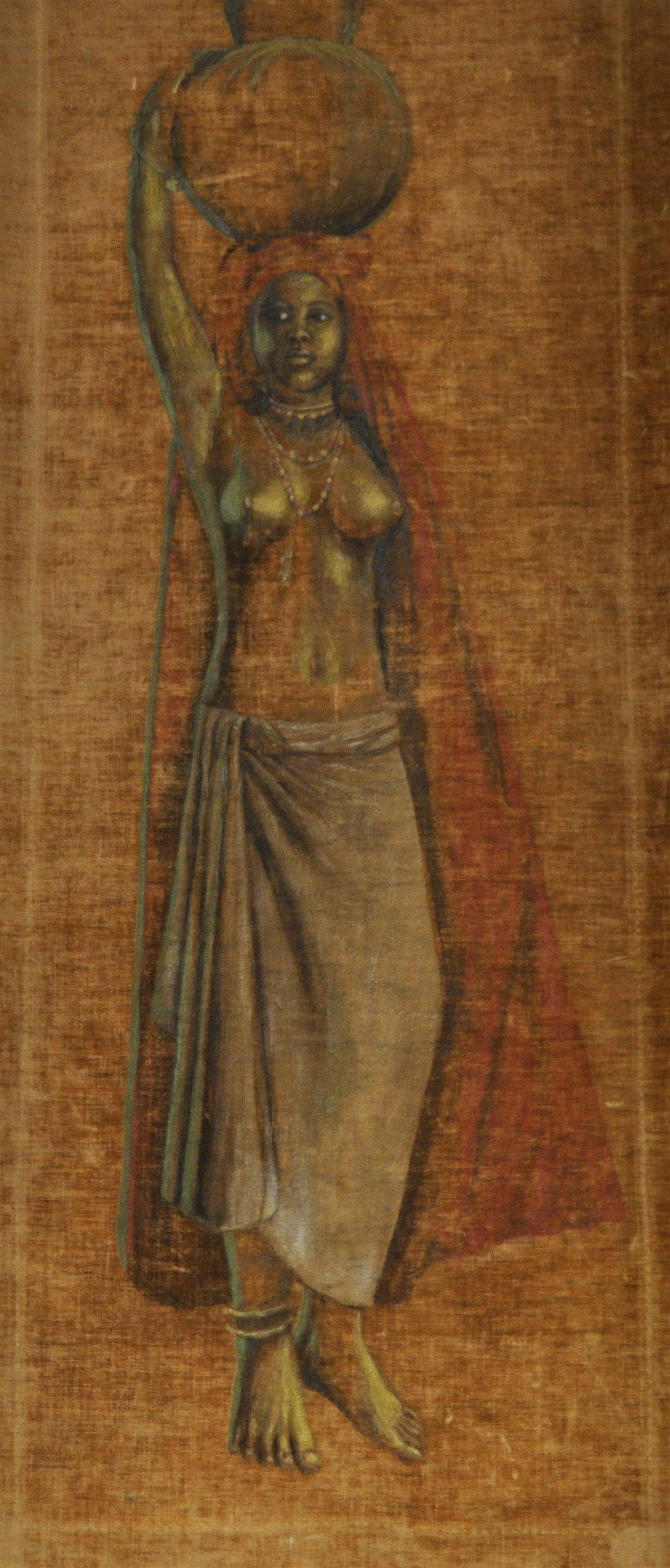 Vintage African Water bearer Painting On Velvet