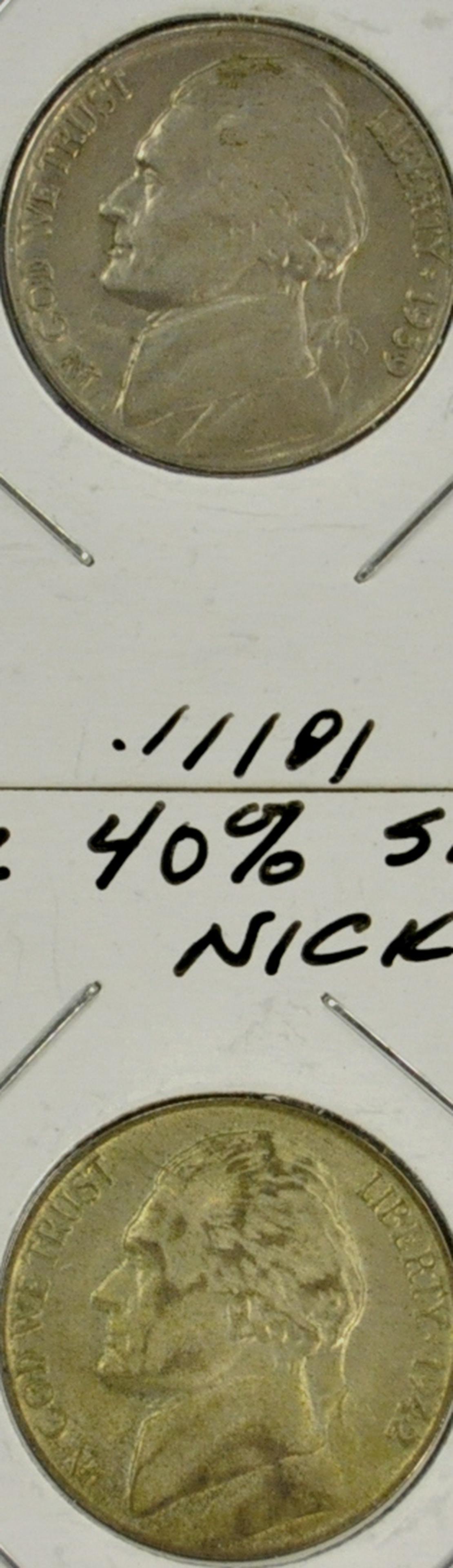 "1939 / 1942 ""P"" Jefferson Nickels"