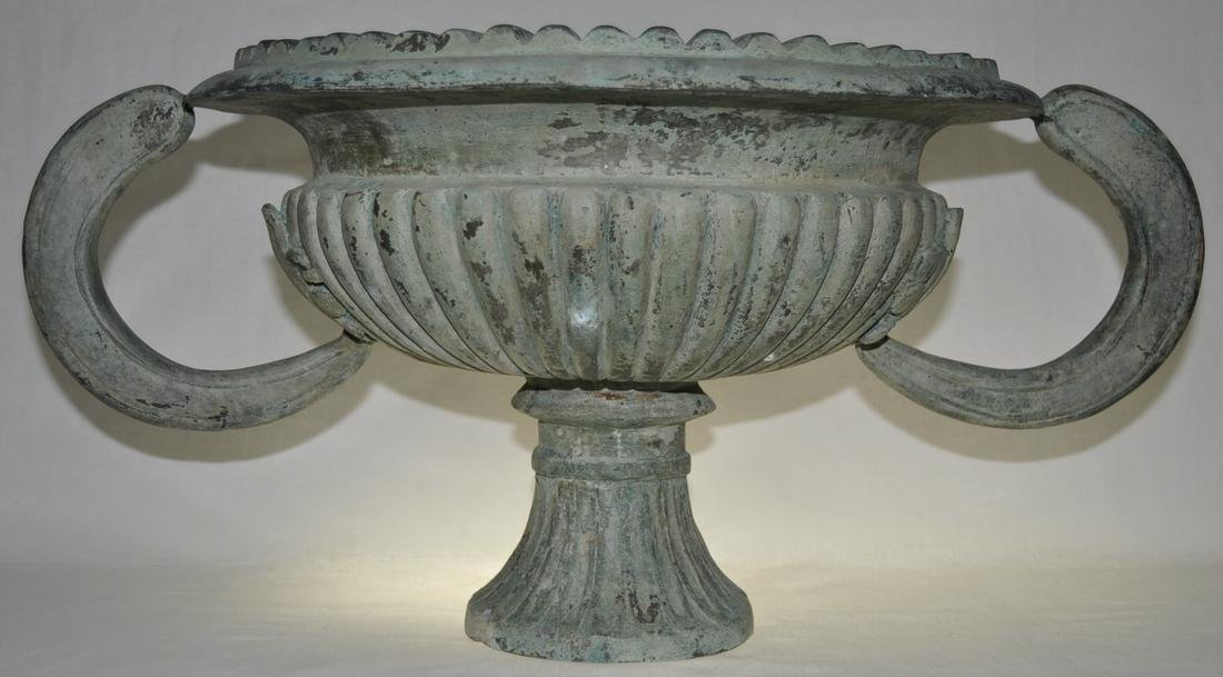Heavily Cast Archaic Form Bronze Urn