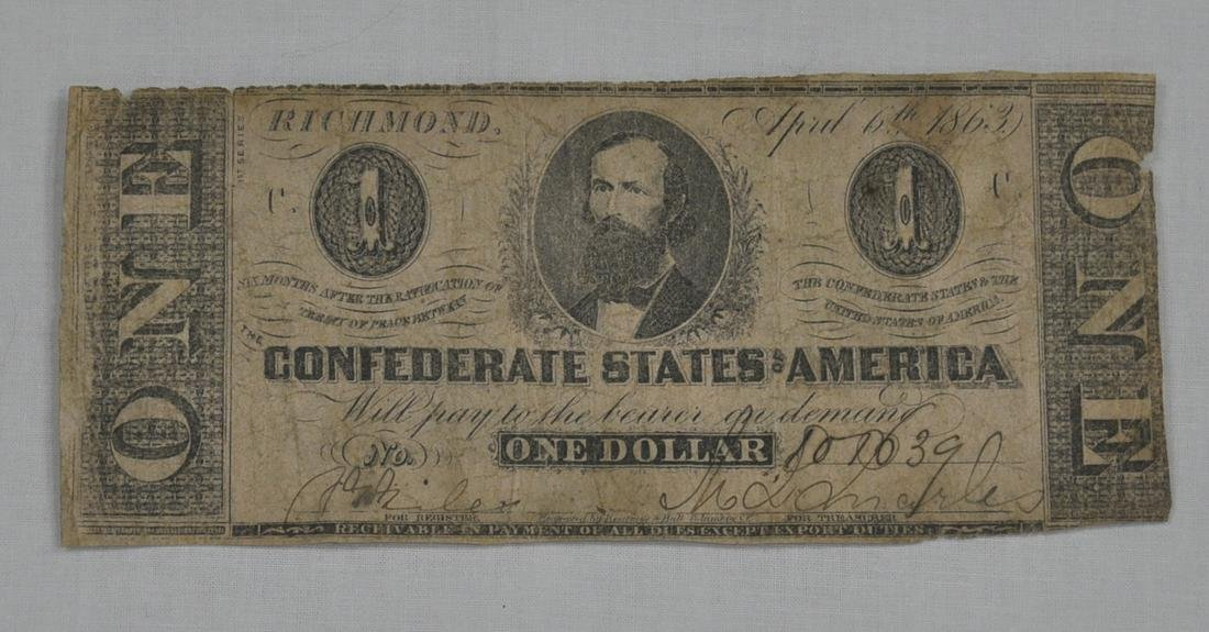 C.S.A. 1863 One Dollar Note