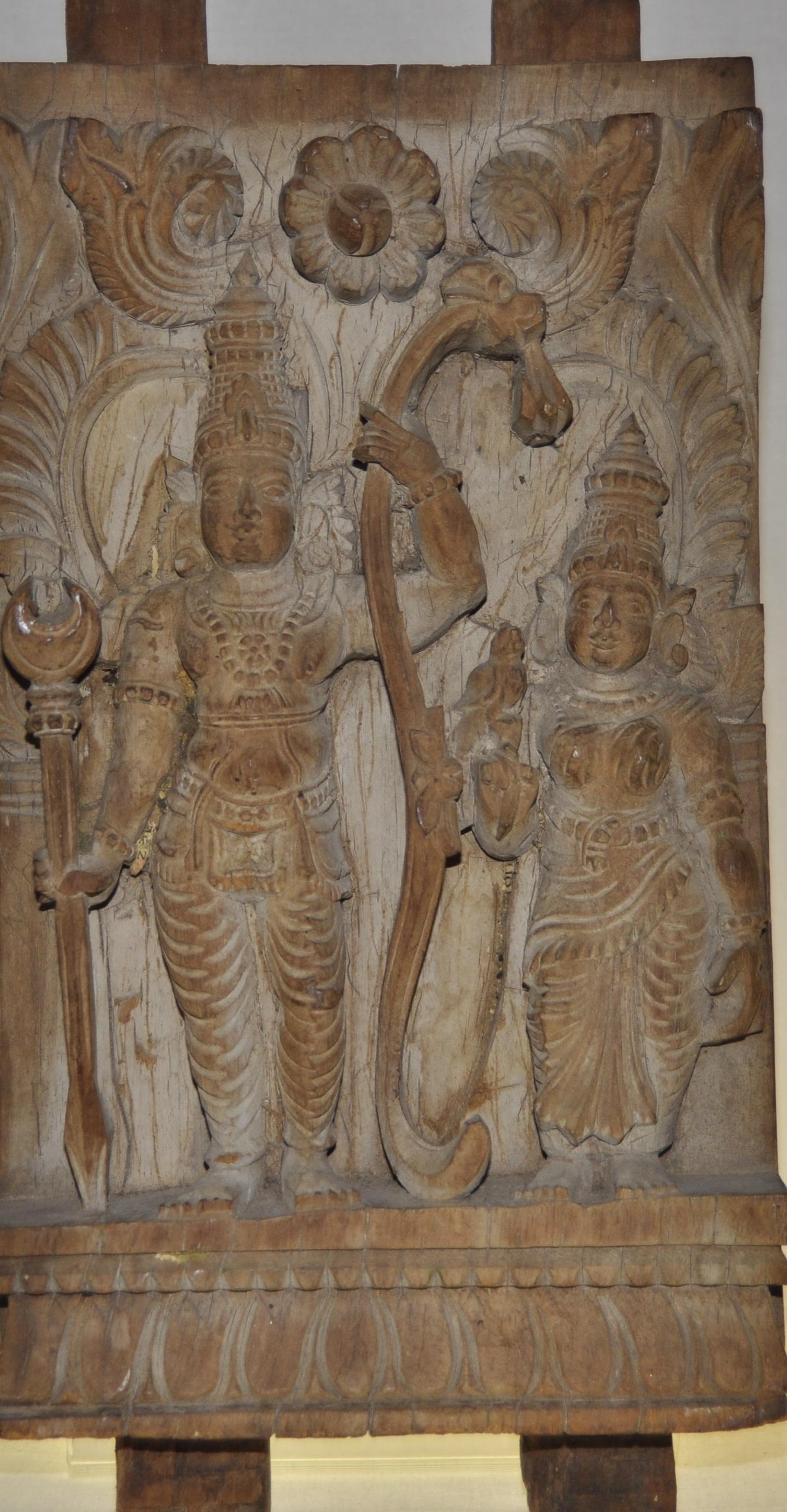 Hindu Iconography Carved Wood Panel