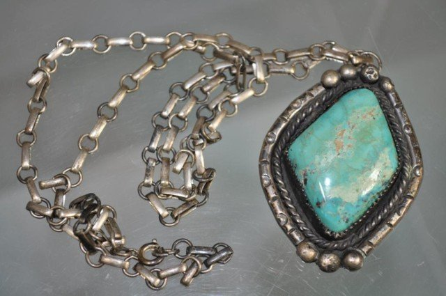 208: Sterling Turquoise Pendant