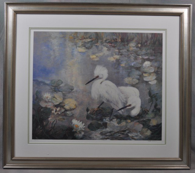 """1015: Walter Greer Lithograph """"Egrets"""""""