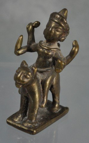 1020: Antique Hindu Devotional Bronze Figural Group