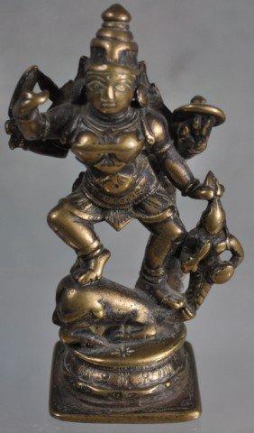1021: Antique Hindu Devotional Bronze Figural Group