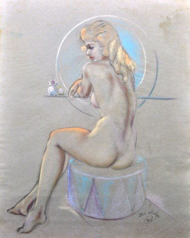 1050: Robert C. Hickey Pastel Vintage Pin-Up Seated Nud