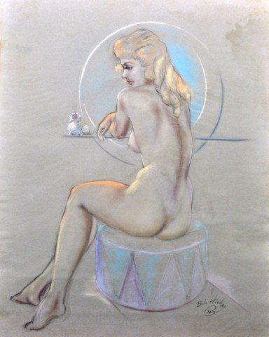 1050: Robert C. Hickey Pastel Vintage Pin-Up Seated Nud
