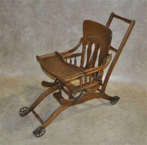 - 36: Converting Antique Oak High Chair / Stroller