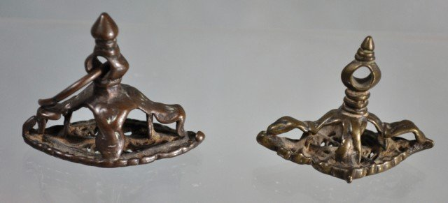 1017: Pair Hindu Bronze Zoomorphic Seals