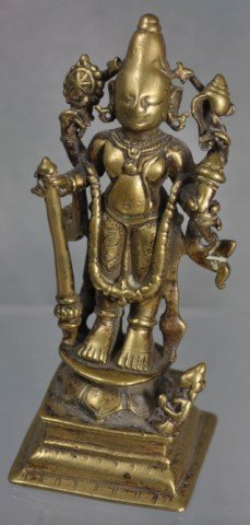 1024: Antique Hindu Devotional Bronze Figure Vishnu