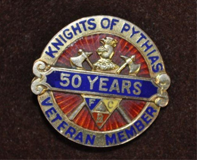 3: Knight of Pythias Fifty Year Pin, 14kt