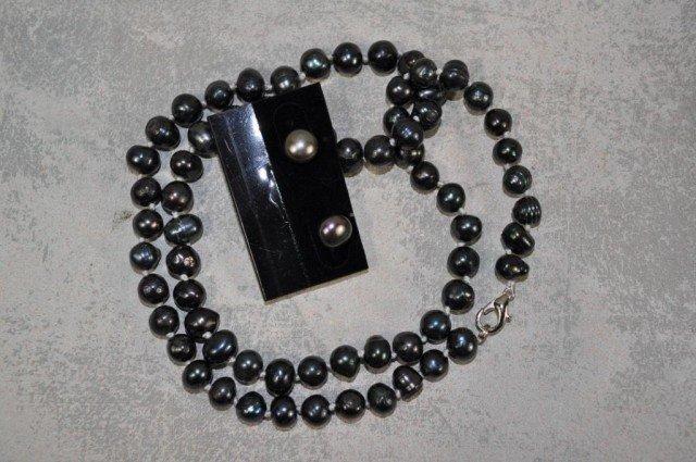 10: Black Pearl Necklace Suite, 3pcs