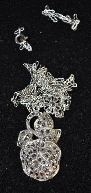 11: Sterling Necklace with Rose Marcasite Pendant