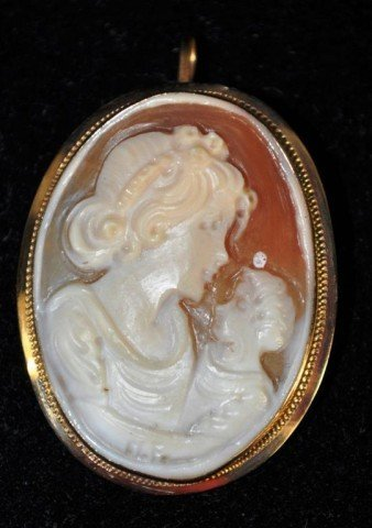 15: Stamped 14kt Shell Carved Cameo