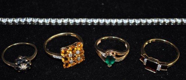 16: Stamped 10kt Rings and Bracelet
