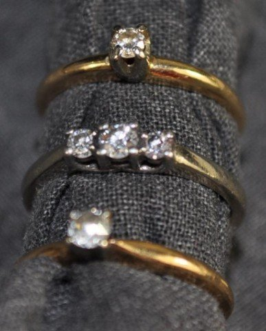 17: Stamped 14kt Diamond Promise Rings, 3pcs