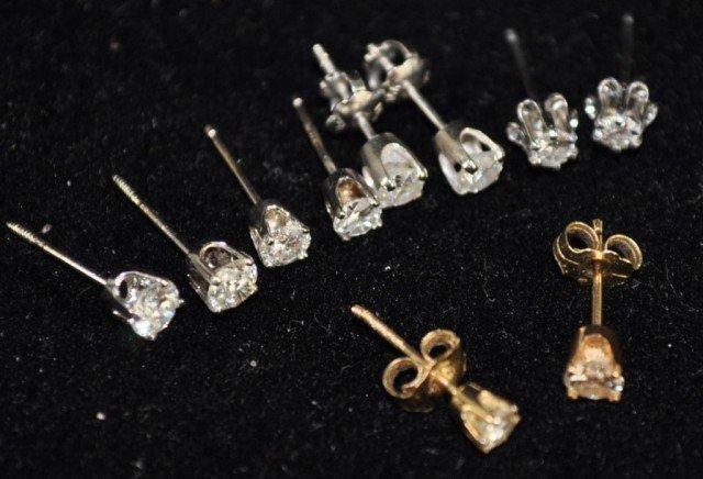 18: Stamped 14kt Diamond Earrings, 5pr