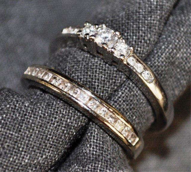 19: 14kt White Gold Diamond Rings, 2pcs