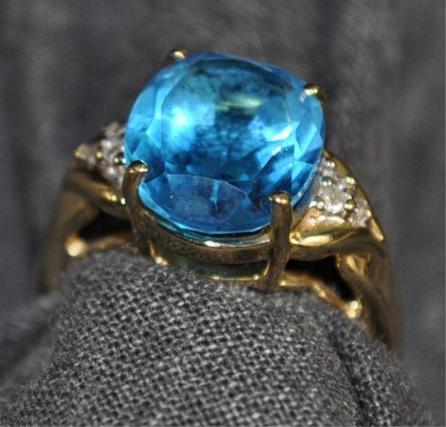 74: Stamped 14K London Blue Topaz
