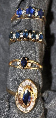 249: Stamped 14kt Sapphire and Diamond Rings, 4pcs