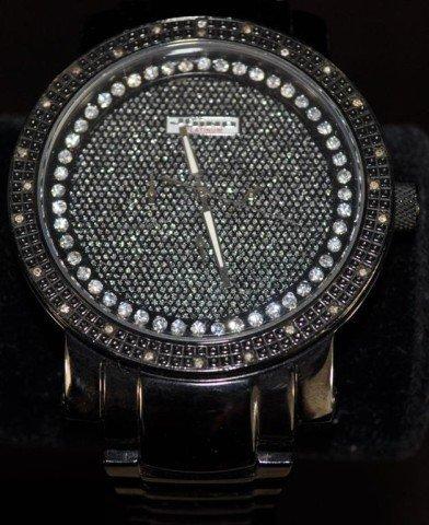 Men's Jojino Joe Rodeo Black Crushed Diamond Watch