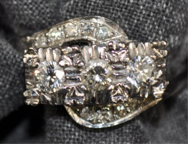 Stamped 14kt White Gold and Diamond Ring