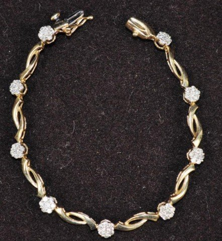 Stamped 10kt Yellow Gold & Diamond Tennis Bracelet
