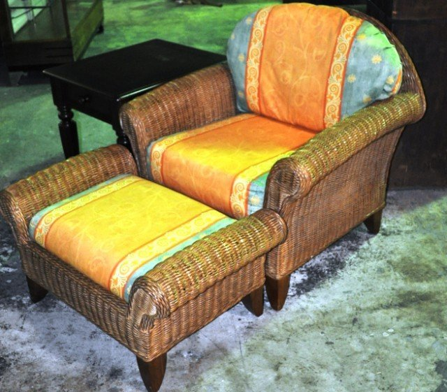 Henry Link Wicker Chair and Ottoman