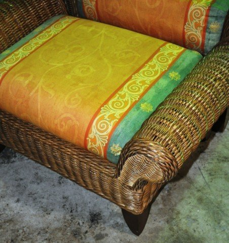 Henry Link Wicker Chair and Ottoman - 2