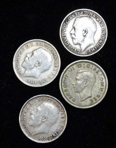 Great Britain Silver Coins, 4pcs