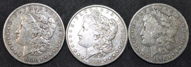 Morgan Dollars, 3pcs