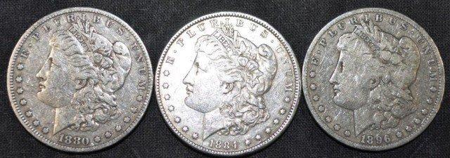 Morgan Dollars, 3pcs
