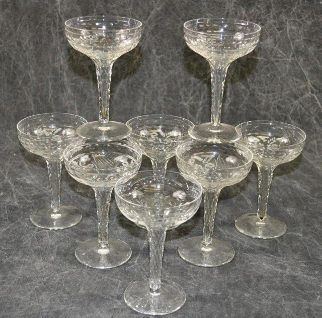 Fine Etched Hollow Stem Champagne Glasses 8 Piece - 2