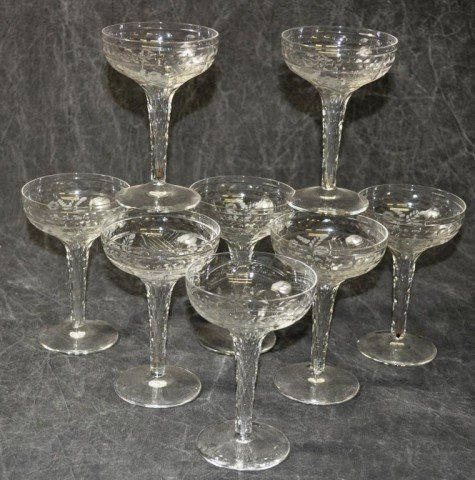 Fine Etched Hollow Stem Champagne Glasses 8 Piece - 3