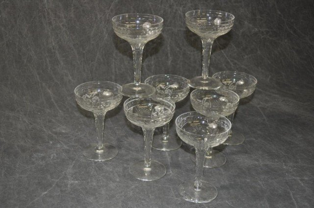 Fine Etched Hollow Stem Champagne Glasses 8 Piece - 4