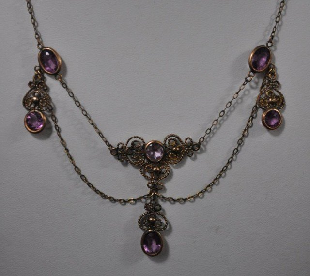 Victorian Gold Filled Filigree Necklace