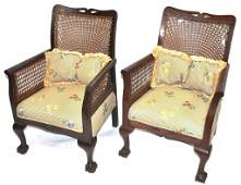 Anglo-Indian British Raj Open Arm Chairs Pair