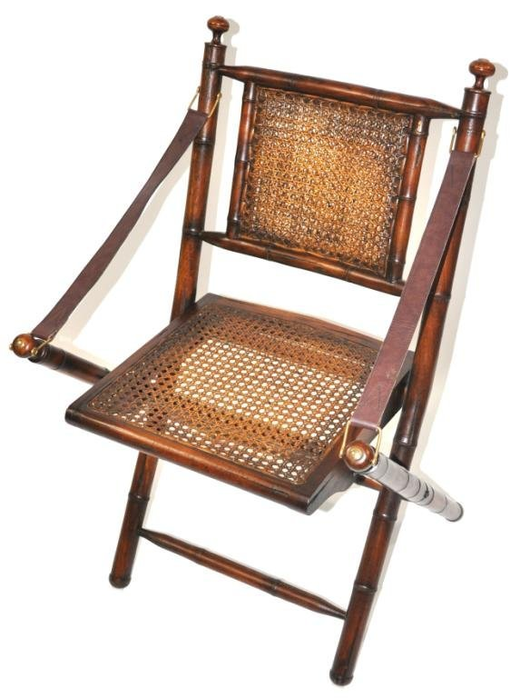 Carved Folding Campaign Chair