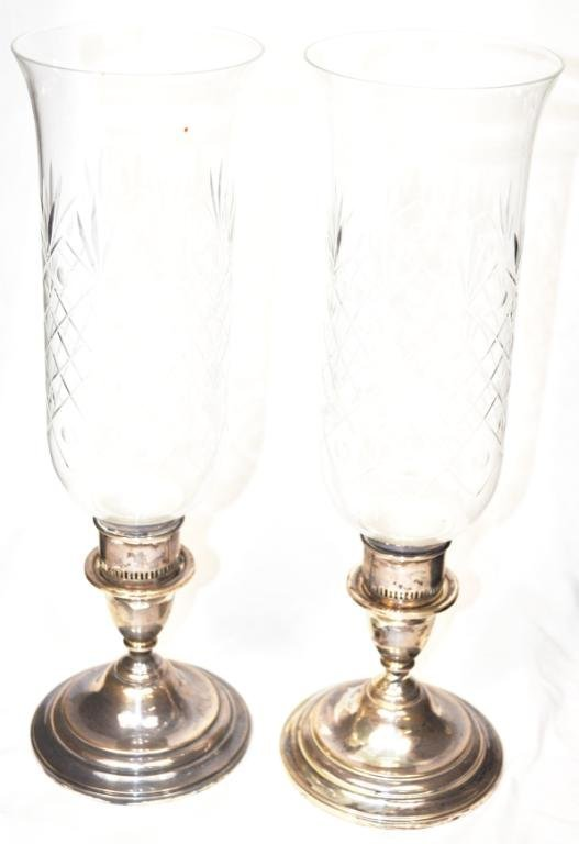 Weighted Sterling Candle Holders, Pair
