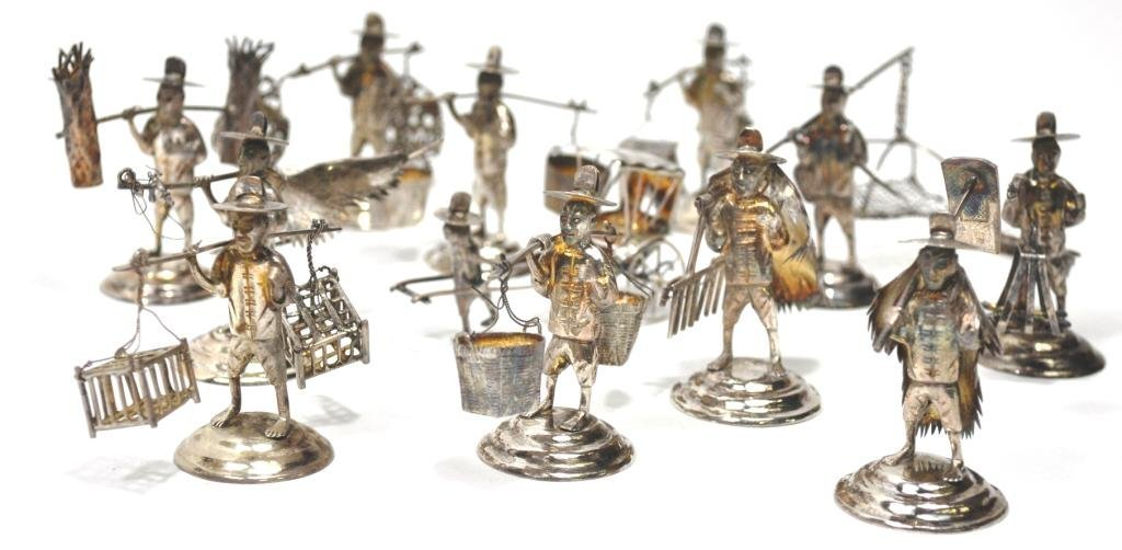 Chinese Silver Miniature Figurines, 12 pcs