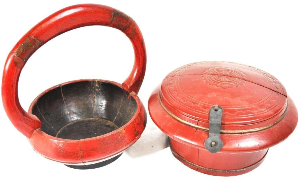 Chinese Painted Wood Food Containers