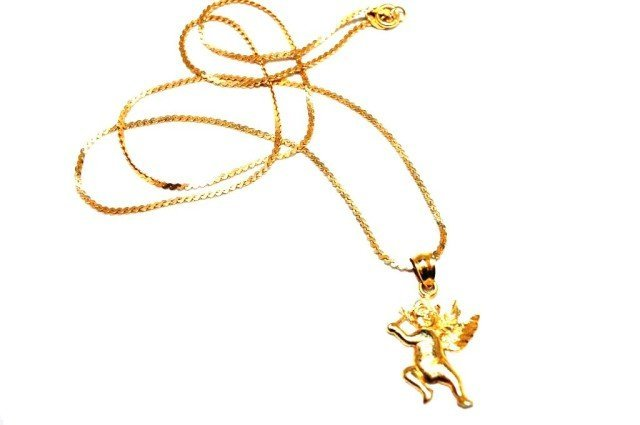 14KT Yellow Gold Angel Necklace