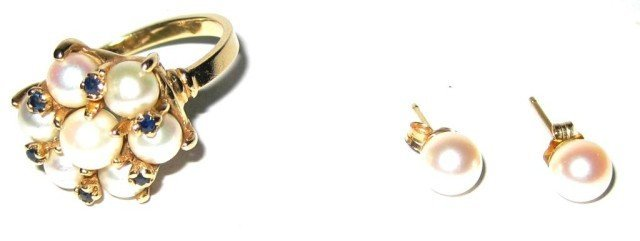 14KT Yellow Gold and Pearl Partial Suite