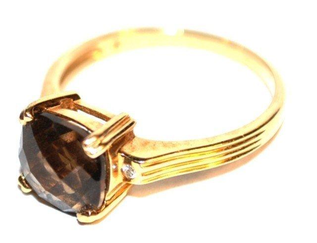 14KT Yellow Gold Smokey Quartz Ring