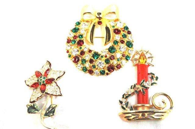 Christmas Fashion Pins, 3 Pieces